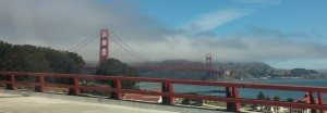 Golden gate bridge shrouded in clouds